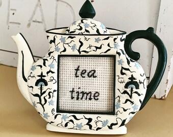 Tea time - framed hand embroidery