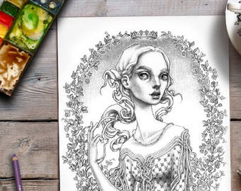 Woman Colouring Page | Grayscale Adult Colouring | Princess