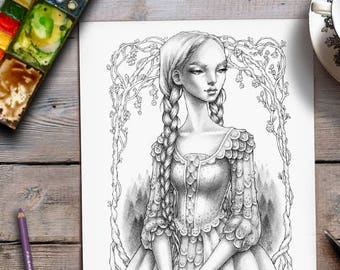 Coloring For Adults | Fairytale Illustration | Grayscale page | Zan Von Zed