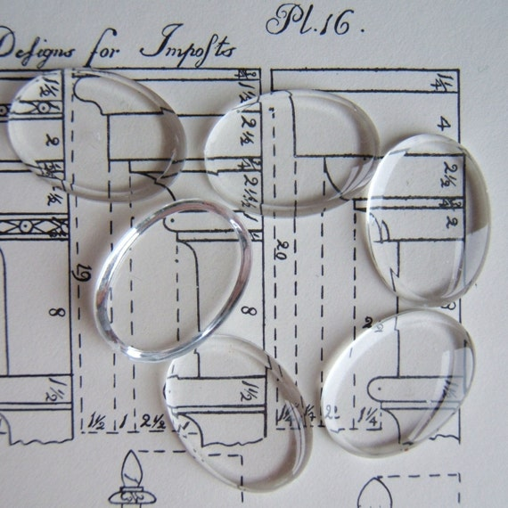 Clear Magnifying Glass Cabochons 25X18mm Pear 6 Pcs