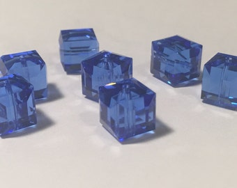 Swarovski 8mm Sapphire Crystal Cube (7)