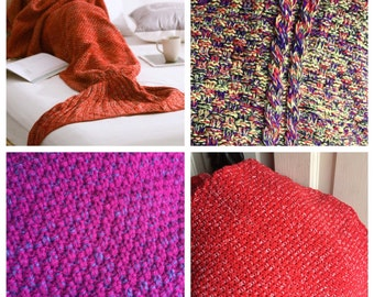Various colors added HERE -Crocheted Mermaid Tail Blanket (Adult size)-