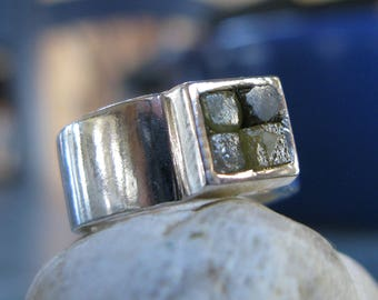 4 Diamonds in the Rough in Silver Ring