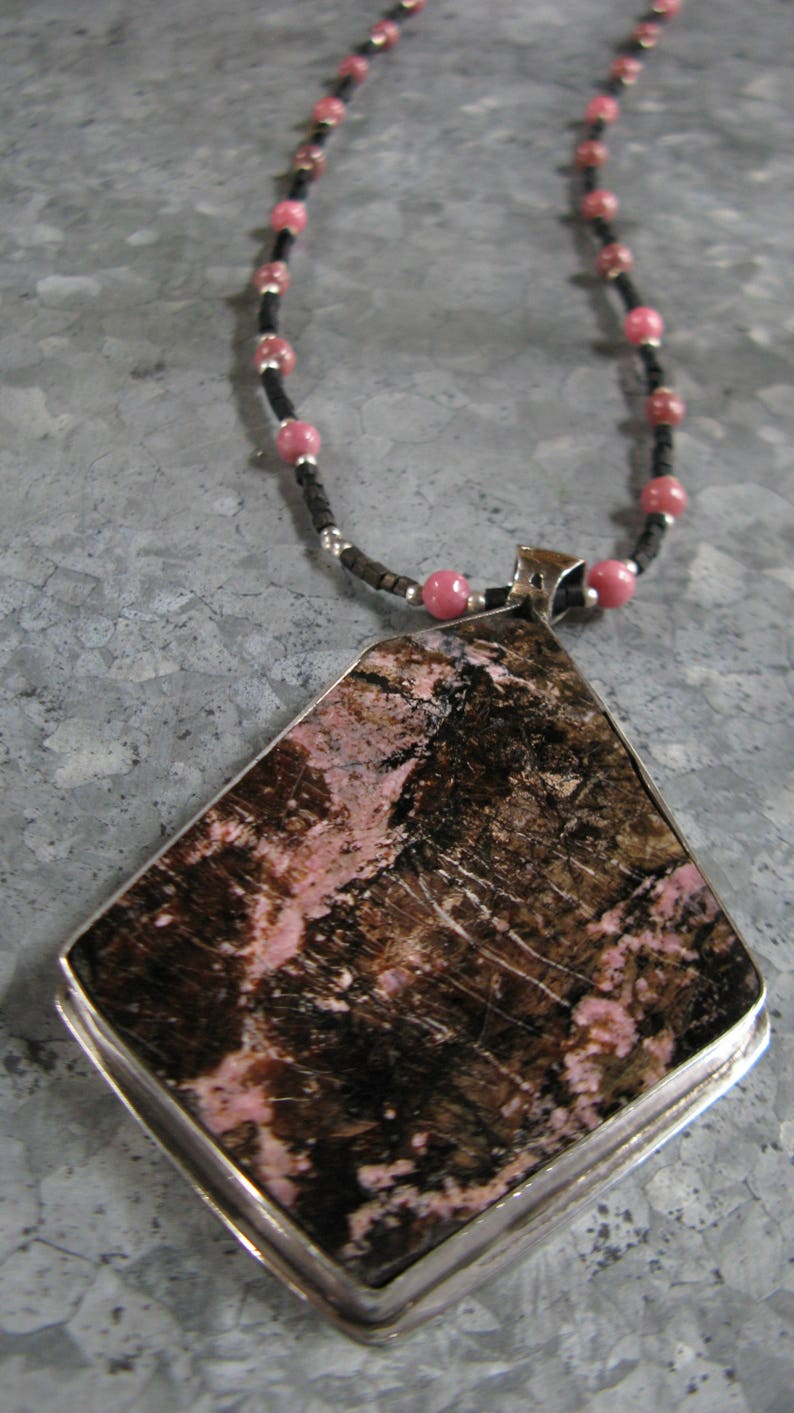 Rhodonite Pendant in Sterling Silver with Rhodonite Bead image 0
