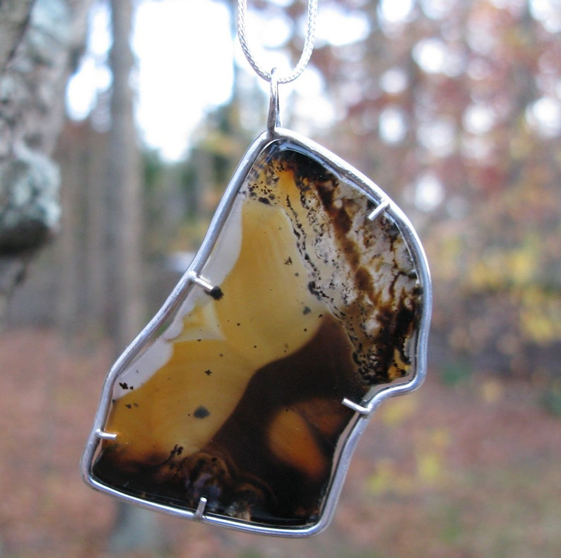 Montana Agate Moss Agate Pendant in Sterling Silver Setting image 0