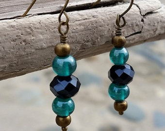Turquoise and Black Glass Bead Antique Gold Earrings