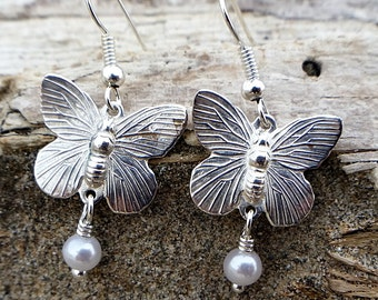 Chabby Chic Silver Butterfly and White Pearl Earrings