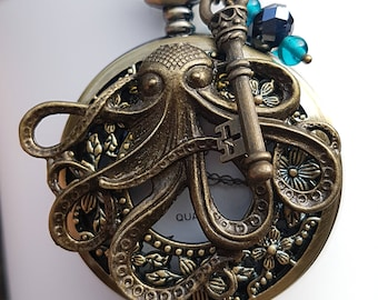 Octopus Steampunk Fob Watch Pendant Necklace