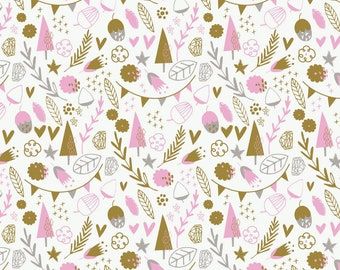 Hello, My Deer Little Treasures White #2143705  by Camelot Fabric 1 Yard