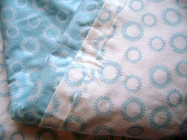 Circle Dots in Blue  Stroller Blanket and Security Blanket image 0
