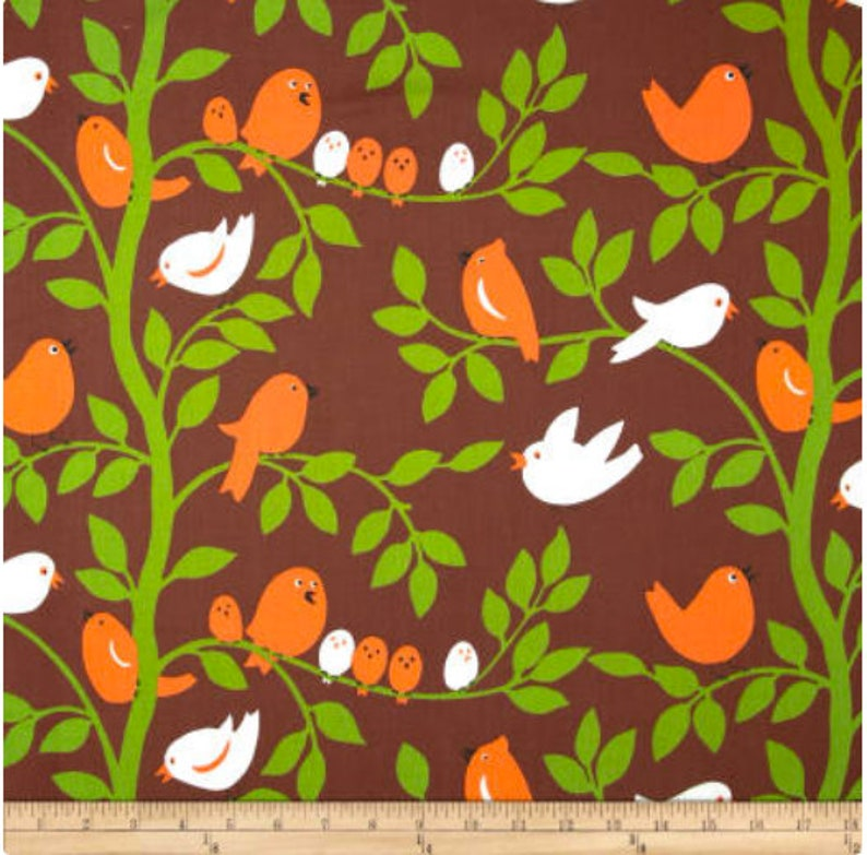 Michael Miller Tweetie Pie Brown Fabric 1.5 yard image 0