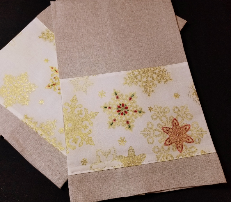 Golden Snowflake  Linen Hand/Tea Towels pair image 0