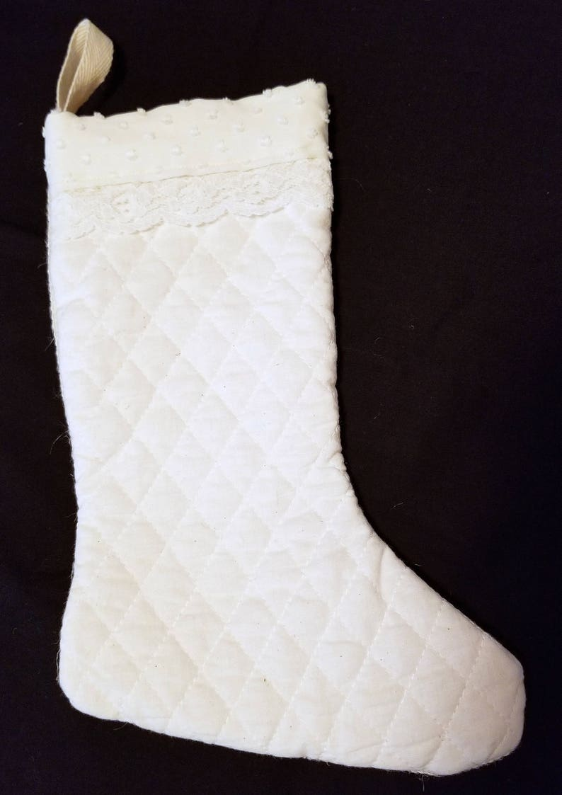 Christmas Stocking  Small Rustic Quilted with Clip Dot and image 0