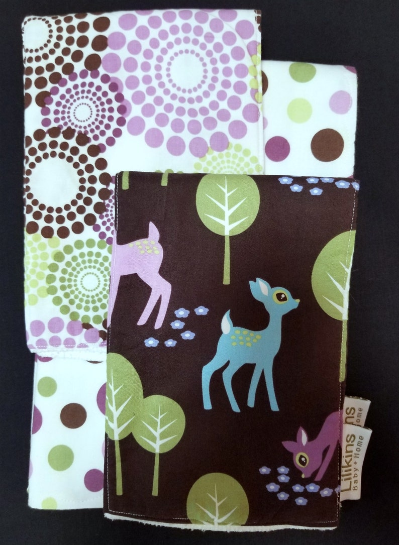 Dots and Deer  Receiving Blanket and Burp Cloths image 0