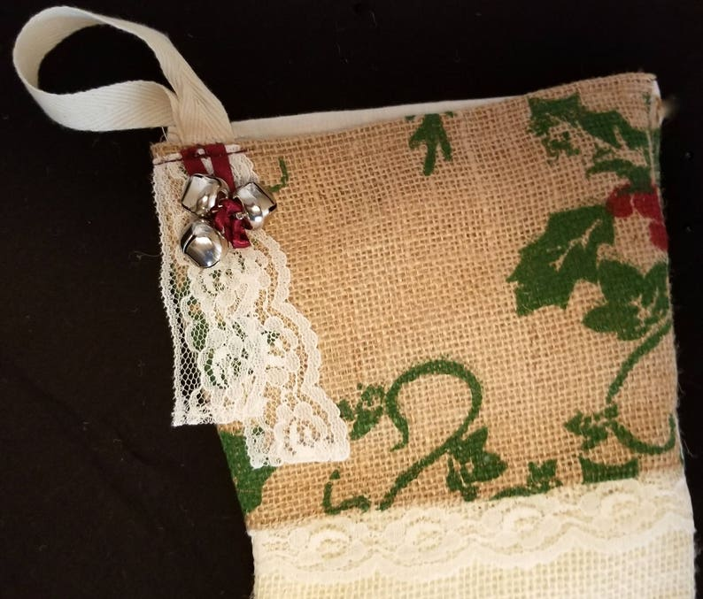 Christmas Stocking  Large Rustic Printed Burlap with Lace image 0