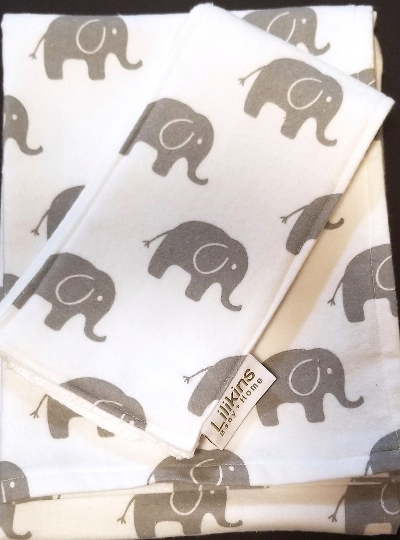 Elephant Walk in Gray  Baby Blanket Swaddler and Burp Cloth image 0