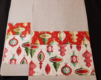 Old-time Holiday Ornaments - Linen Hand/Tea Towels (pair)