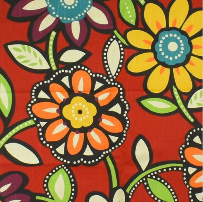 Richloom Screen Print Red Multicolor Floral Fabric Remnant image 0