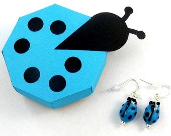 Handmade Ladybug Earrings and Handmade Ladybug Gift Box.   Dangle Earrings.  Light Blue Ladybug or Ladybird Glass Earrings.