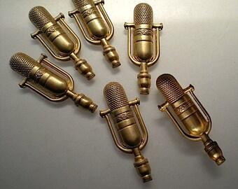 12 Pieces Antique Brass Tone Base Metal Charm 2592X-C-166 Microphone 25x7mm