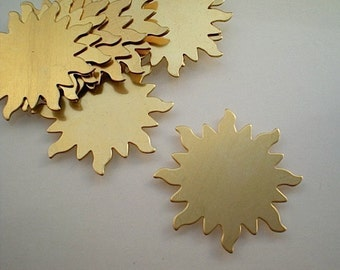 12 large flat brass fiery sun stamping blanks
