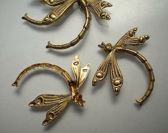 4 large brass dragonfly charms