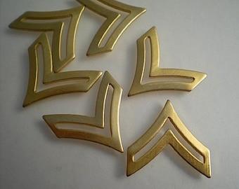 6 brass chevron charms