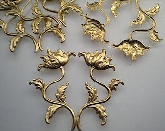 4 brass flower sprays