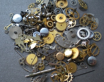 WHAT you SEE is what you GET - Vintage steampunk watch parts, 1/2 oz (14 grams) - Lots of tiny gears, wheels, hands, crowns, and stems