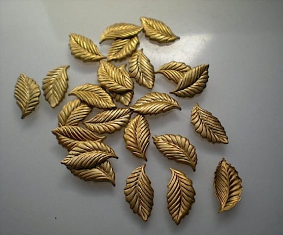 20pcs Raw Brass Leaf Charms Pendant Findings 46mm x 27mm F1464
