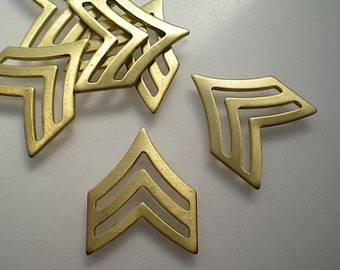 6 brass double chevron charms