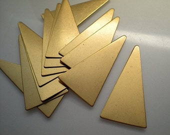 12 large flat brass tall triangle stamping blanks