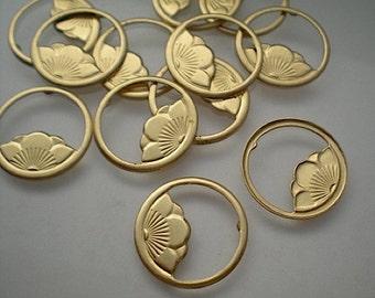 12 brass flower ring findings