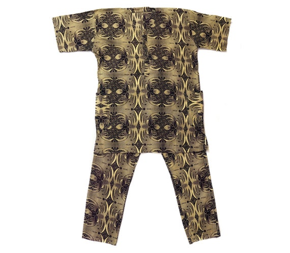 Vintage African Mens Wax Print Shirt & Pants from