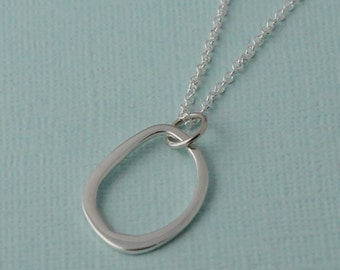 Organic circle necklace, Sterling silver