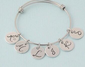 Initial Bangle Bracelet, silver charm bracelet, initial bracelet, personalized, Mothers bangle
