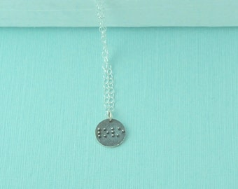 Braille Necklace, Sterling silver love necklace, Braille love Necklace