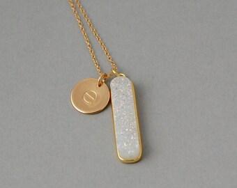 Hand stamped initial Druzy Necklace / Druzy Bar Necklace /  Personalized necklace / Gold Initial necklace/ White Druzy / Rainbow Druzy