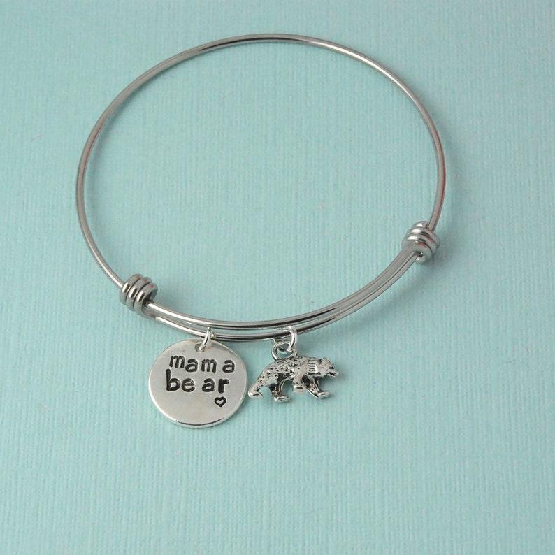 4418840f0 Mama Bear Bangle Bracelet silver charm bracelet mama bear   Etsy