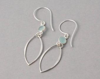 Chalcedony Dangle Earrings in Sterling silver - Chalcedony Silver drop Earrings
