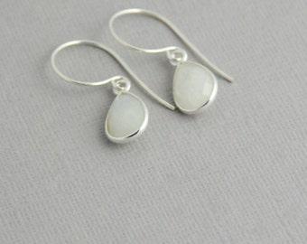 Moonstone Earrings in Sterling silver - Tear Drop Rainbow Moonstone Silver drop Earrings