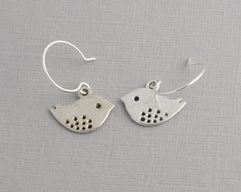 Bird earrings, Love bird Earrings, silver, nature earrings
