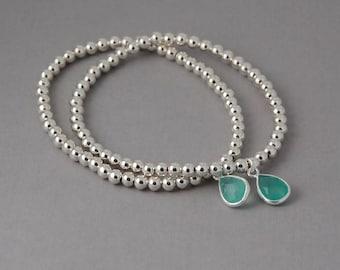 Sterling Silver bracelet with chalcedony charm stretch bracelet