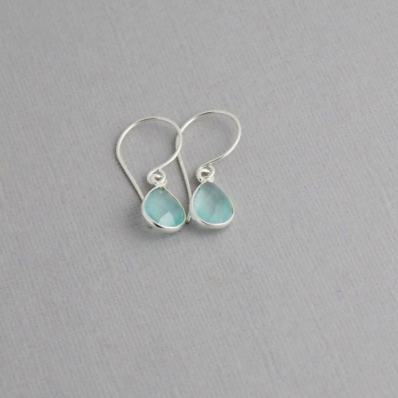 Chalcedony Earrings in Sterling silver  Tear Drop Chalcedony image 1