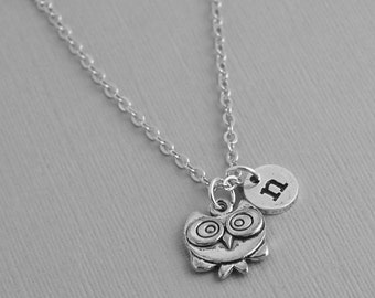 Personalized Owl necklace, animated owl necklace, Initial necklace