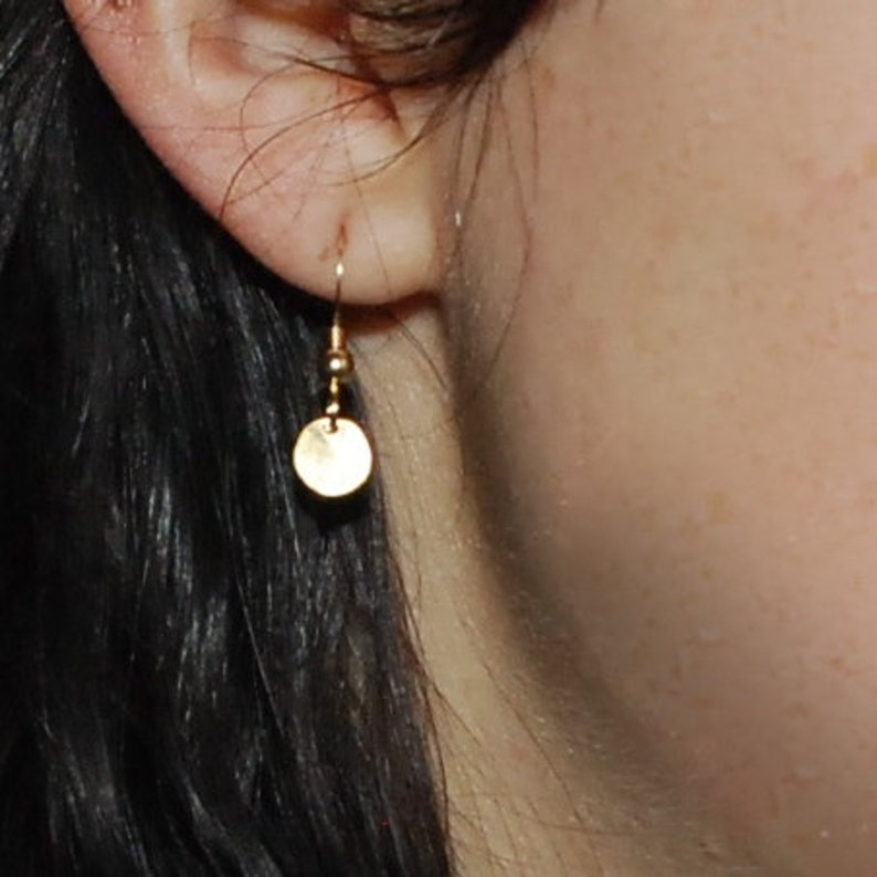 Tiny gold hammered disc earrings 14k gold filled minimalist