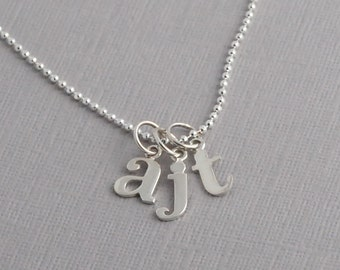 Initial necklace, monogram, sterling silver necklace, personalized, mothers necklace