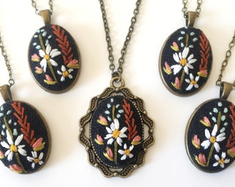 Wildflower Pendant in Black | hand embroidered necklace, floral, bouquet, jewelry keepsake, feminine, embroidered jewelry