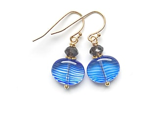 Blue Striped Glass and Faceted Smokey Quartz Earrings on 14k Gold