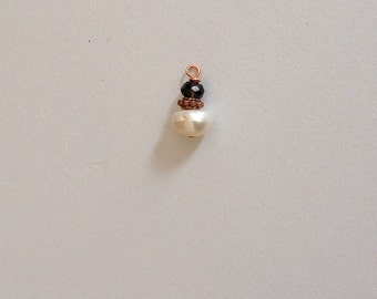 CLEARANCE: White Freshwater Pearl and Faceted Smokey Quartz Charm on Copper